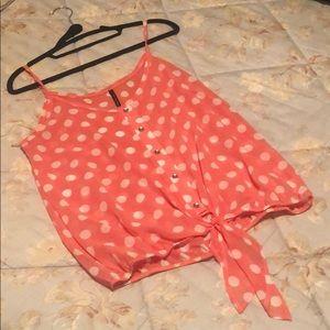 Pink and white polka dot tank top!